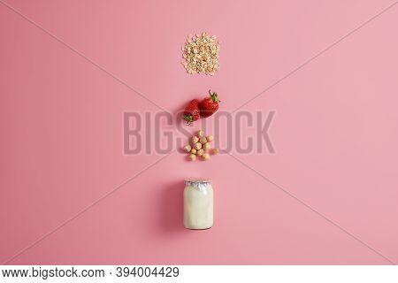 Eating Healthy Breakfast, Clean Eating, Dieting, Detox Food, Vegetarian Concept. Yoghurt With Hazeln