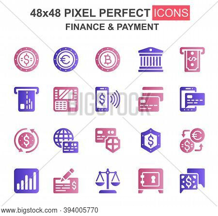Finance And Payment Glyph Icon Set. Bank, Currency, Deposit, Credit Card, Security, Exchange, Mobile