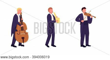 Orchestra Musicians With Musical Instruments Flat Color Vector Faceless Character Set. Classical Mus