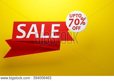 3d Illustration Design Of A Banner On A Red Ribbon For Mega Big Sales With The Inscription Sale And