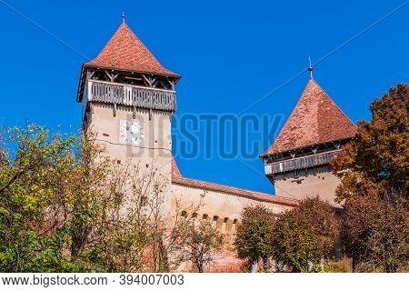 Alma Vii, Sibiu. Saxon Fortified Church From Transylvania, Romania.