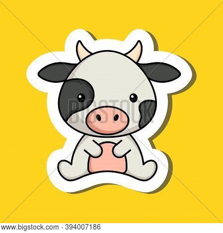 Cute Cartoon Sticker Little Cow Logo Template. Mascot Animal Character Design Of Album, Scrapbook, G