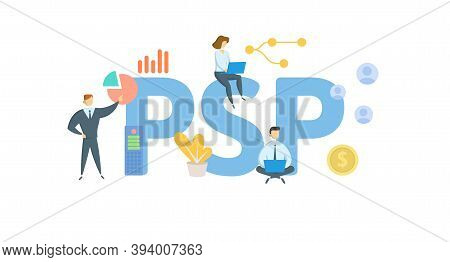 Psp, Profit Sharing Plan. Concept With Keywords, People And Icons. Flat Vector Illustration. Isolate