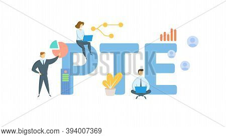 Pte, Pass-through Entity. Concept With Keywords, People And Icons. Flat Vector Illustration. Isolate