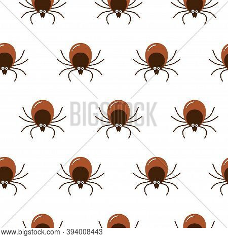 Seamless Pattern Brown Tick Insect Icon Isolated On White Background. Mite Bug Drawn Abstract Print,