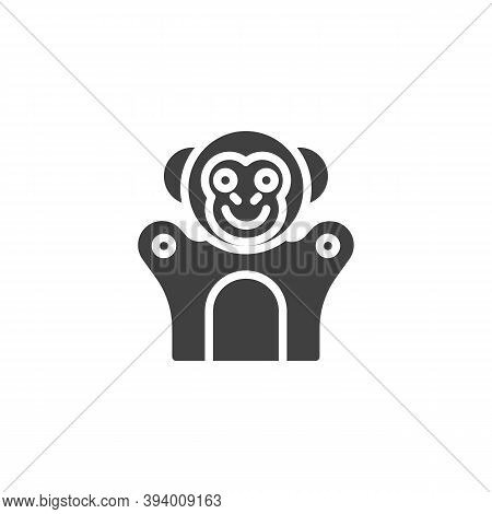Monkey Finger Puppet Vector Icon. Filled Flat Sign For Mobile Concept And Web Design. Finger Toy Mon