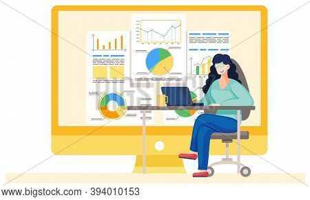 Young Girl Working And Analyzing Financial Statistics . The Female Marketer Studies Information Abou