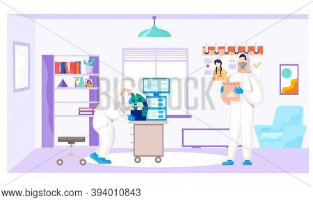 Scientist Is Holding A Container With A Dangerous Virus Inside. Man Looking Through A Microscope. Co