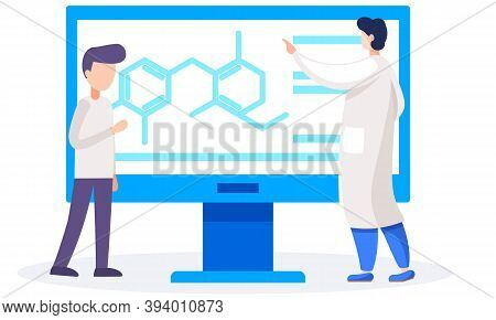 The Man Controls The Work In The Laboratory. Chemist Points To Indicators On The Screen. Scientific