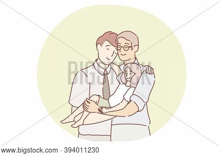 Gays Parents Family Adopting Child Concept. Young Smiling Gays Male Homosexual Partners Cartoon Char