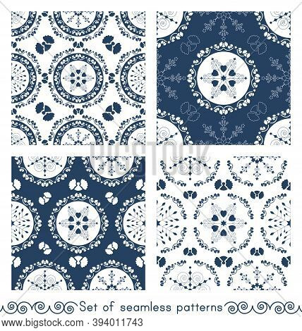 Set Of Seamless Patterns Christmas Theme. Pretty Mandalas And Frieze Around With Angels. Snowflakes,