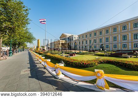 Bangkok, Thailand - December 6, 2019: View of the Ministry of Defence building of Thailand in Bangkok.