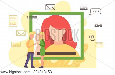 Woman Having A Conference Video Call With Her Colleagues Or Friends, Online Communication Concept. V