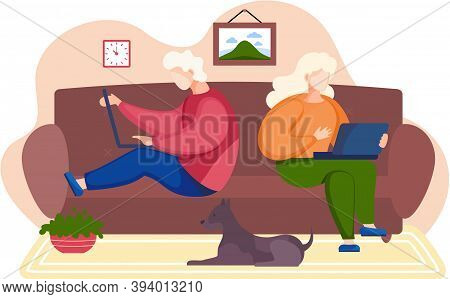 People Sitting On The Sofa, Holding A Laptops. Relaxing At Home Concept Vector Flat Design. Young Fa