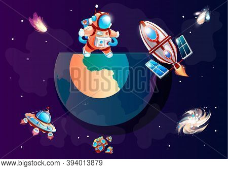 Cartoon Rocket Flies Into Space And Blows Fire. Travel Across The Galaxy And The Universe. Astronaut