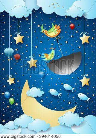 Surreal Night With Big Luna, Flying Umbrella And Fishes. Vector Illustration Eps10