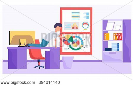 Businessman Working And Analyzing Financial Statistics. The Male Marketer Studies Information About
