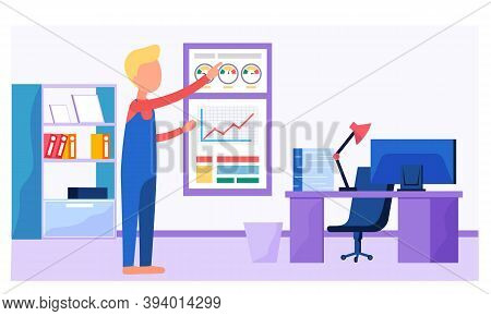 Businessman Working And Analyzing Financial Statistics. The Man Marketer Studies Information About T