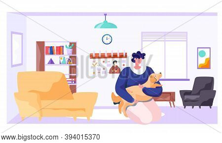 Young Woman Is At Home With Her Brown Dog Near Armchair In Livingroom With Window, Bookcase. Flat St