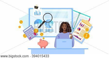 Financial Audit And Tax Report Vector Business Illustration With Black Woman Consulting Online. Mont