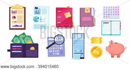 Financial Audit Business Illustration Set With Tax Report, Calculator, Piggy Bank, Wallet, Money, Sm