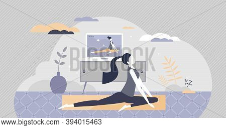 Online Yoga Exercise With Distant Instructor Training Tiny Person Concept. Body Stretching Activity