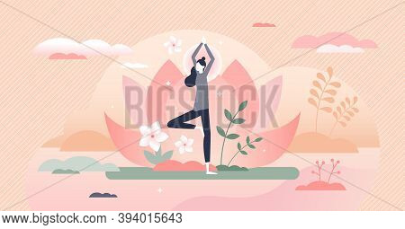 Holistic Healing Tree Pose As Calm Mind Mediation Therapy Tiny Person Concept. Peaceful Spiritual Bo