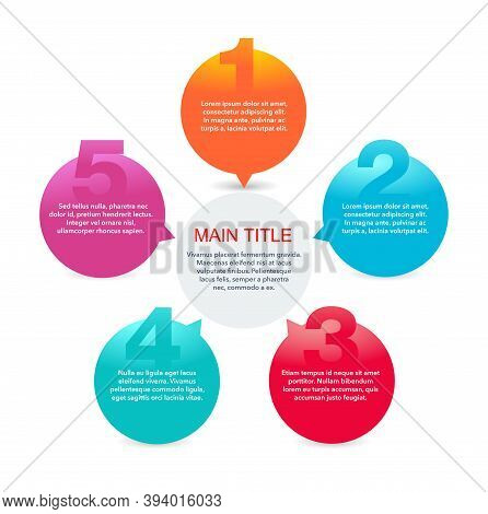 5 Steps Infographic Template (5 Points, Five Options) With Colorful Circular Options Fragments Conne