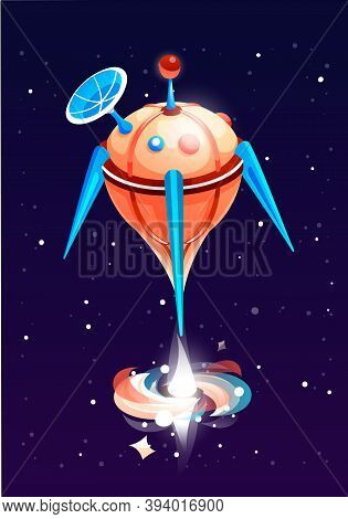 Rounded Orange Rocket With Satellite Flies Into Space And Blows Energy. The Circulation Of Matter At