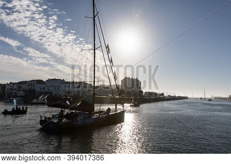 Les Sables D'olonne, France - November 08, 2020: Didac Costa Boat (one Planet One Ocean) In The Chan
