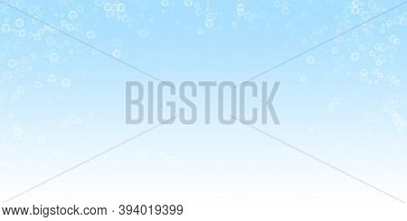 Soap Bubbles Abstract Background. Blowing Bubbles On Night Sky Background. Astonishing Soapy Foam Ov
