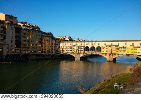 Florence, Italy, View Of The Ponte Vecchio (old Bridge) On Tthe Arno River