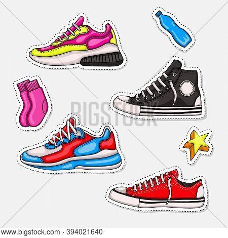 Sneakers Vector Set. Sneakers Icon. Shoe Sticker Set. Sneakers Logo. Shoe Vector Illustration. Sport
