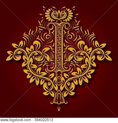 Letter I Heraldic Monogram In Coats Of Arms Form. Vintage Golden Logo With Shadow On Maroon Backgrou