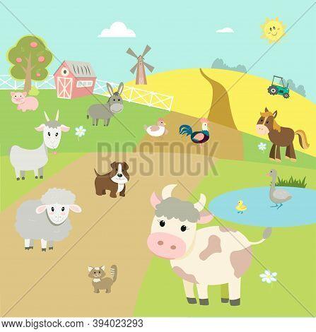 Farm Animals On The Background Of The Landscape - Cow, Horse, Sheep, Donkey, Pig, Goat, Dog, Cat, Go