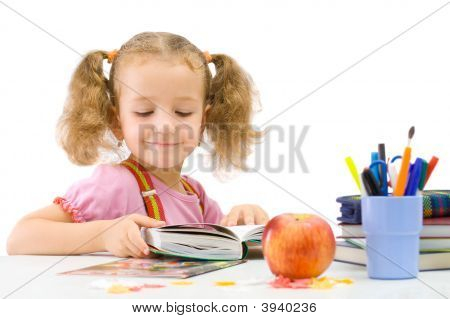 The Nice School-Girl With Book