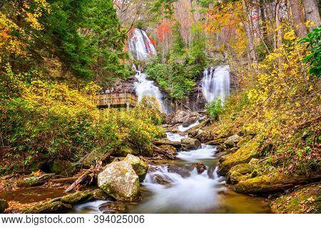 Anna Ruby Falls, Georgia, USA in autumn.