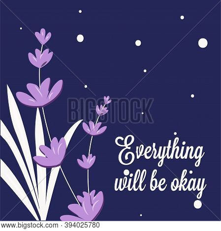 Vector Floral Drawing, Lavender Illustration For Design Of Cards, Banners And Flyers