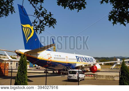 Ryanair Airlines. Plane At Renton Airport, Washington. United States. August 26, 2020.