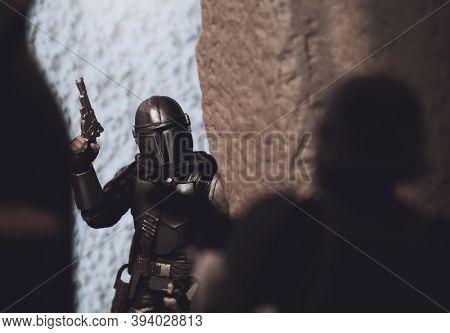 NOV 8 2020:  Scene from Star Wars The Mandalorian - Disney Plus series - Hasbro action figures