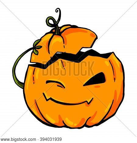 A Bright Rich Vector Pumpkin Winks And Takes Off Its Hat As A Greeting. Illustration Isolated On Whi