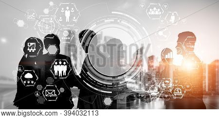 People Network And International Communication Concept. Business People With Modern Graphic Interfac