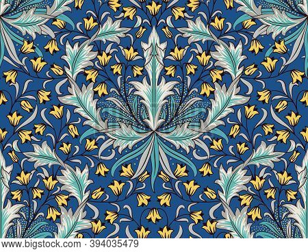 Floral Seamless Pattern With Big And Small Flowers On Blue Background. Tulips, Foliage In Middle Fge