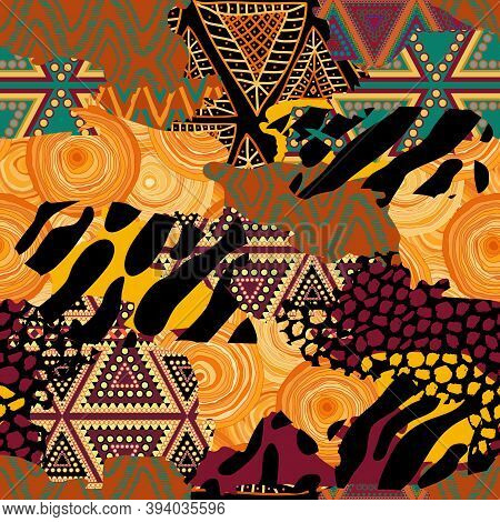 Seamless Geometric Of Different Shapes Pattern. Abstract Patchwork African Background Of Different S