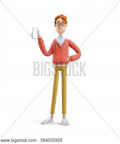 Larry The Nerd.  Nerd Larry  Holds The Phone. 3d Illustration.