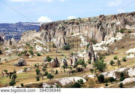 Symbol of Cappadocia - Fairy Chimney or Multihead stone mushrooms in Pasabag Valley, Anatolia, Turkey