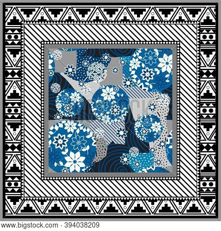 Abstract Scarf Design Pattern-vector Illustration. Hijab Pattern In The Frame Of A Square. Shawl Sca