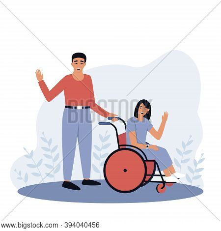 Father With Disabled Daughter. Girl In A Wheelchair. The Concept Of An Accessible Environment For Pe