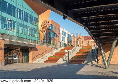 Gdansk, Poland - July 25, 2019: Modern architecture of the new Forum shopping mall in the city center of Gdansk of Gdansk, Poland.
