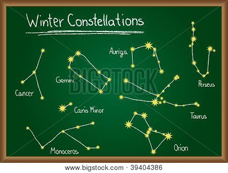 Winter Constellations of northern sky drawn on school chalkboard poster